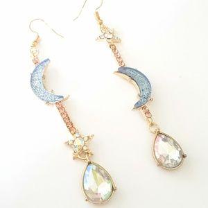 Gold crystal moon and stars dangle earrings
